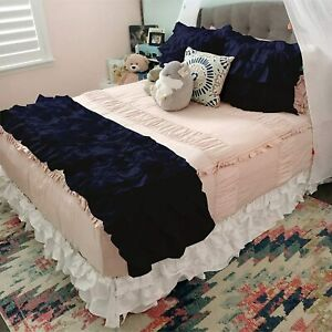 1000 TC Egyptian Cotton All US Size 5 PC Ruffle Bed Runner Scarf Set Solid Color