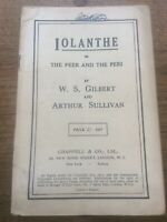 1920s Opera Vocal Score Words IOLANTHE Gilbert & Sullivan Chappell & Co London