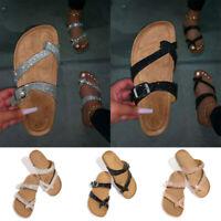 Women's Slide Buckle Ring Toe Cork Footbed Platform Flip Flop Shoes Sandals Size