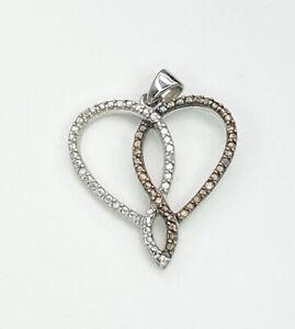 White & Cognac Diamond Gemstone Heart Shape Pendant, Gems Tv/ Gemporia