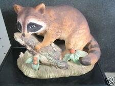 Vintage Homco Raccoon On Branch Porcelain Figurine