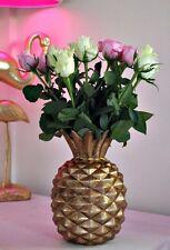 Large Gold & Bronze Pineapple Ornamental Flower Diamond Vase Tropical Design