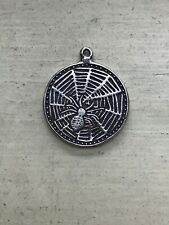 Antique Victorian Good Luck Charm,Charm Bracelet,Silver,Spider in Web,Horseshoe