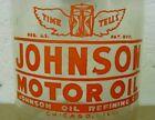 RARE+NEAR+MINT+%7E+1940s+WWII+era+JOHNSON+MOTOR+OIL+TIME+TELLS+Old+1+qt.+Jar+%7E+can