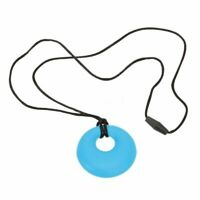 Best Selling Teething Chew Sensory Silicone Necklace Pendant Autism Blue