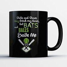 Softball Coffee Mug - Bats And Balls - Adorable 11 oz Black Ceramic Tea Cup - Cu