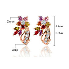 1 Pair Women Flower Stud Multicolor Cubic Zirconia Stone Crystal Earrings