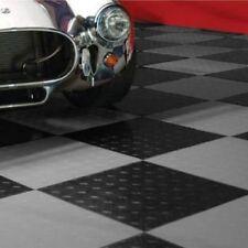 MotoFloor Modular Garage Flooring Black & Alloy 48-pack Durable Tiles