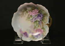 SIGNED G. Connelly Antique Small Hand Painted Floral Wisteria Dish w Gold Handle