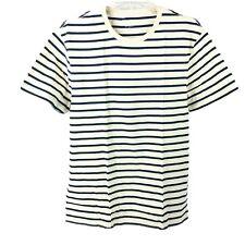 J Crew Mercantile Mens Broken In Deck T-Shirt Mountain White Blue Stripe Large