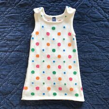 Baby Gap 3T Toddler Girl Milk White Sweater Dress with Rainbow of Polka Dots