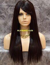 Long Straight Layered W Bangs Dark Brown Human Hair Blend Wig Hair Piece #4 NWT