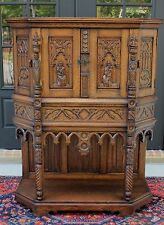 Antique French Oak Gothic Sacristy Catholic Vestment Wine Cabinet Bar Bookcase 1