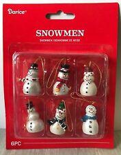 "Miniature Dollhouse Mini CHRISTMAS Tree ~ 6 Asst 1¼"" Pearlized Snowman Ornaments"