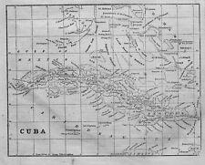 CUBA MAP OF 1855 CUBA CARIBBEAN SEA GULF OF MEXICO FLORIDA BAHAMAS JAMAICA HAYTI