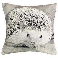 Divine By Design Hedgehog Photographic Print Cushion Cover, Mono, 43 x 43 Cm