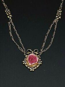 "Avon Goldtone Pink Rose Necklace 16"""