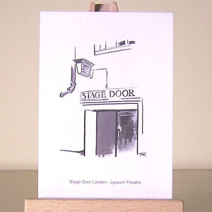 Stage Door sign drawing ~ London West End Theatre ACEO art card ~ The Lyceum