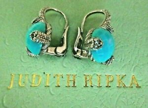 Judith Ripka Sterling Sliver Turquoise & Diamonique Lever-back Pierced Earrings
