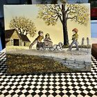 Vintage H. Hargrove Oil Painting on Canvas Pulling The Wagon Wall Art
