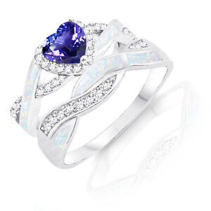 Tanzanite Heart Infinity Celtic White Opal Inlay w CZ Engagement Silver Ring Set