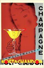 Champagne Moet Chandon 1960 Vintage Poster Print Wall Art Deco Design Home Decor
