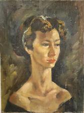 VTG 1940s Antique Oil Painting Portrait Impressionism Mystery Signed KCAI Benton