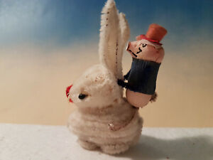 Vintage White Chenille Easter Bunny w Dressed Piggy Rider Pressed Cotton*Germany