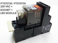TE Connectivity / Schrack PT570730/PT570T30 230VAC Industry Relay + Socket + LED