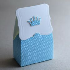 24st Gastgeschenk Taufe Baby Geburstag Box Schachtel (Blau mit Krone)