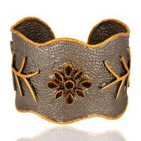 Designer Smoky Quartz Gemstone Handmade Cuff Bangle Rhodium Plated Jewelry