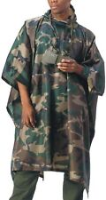 Camo Tactical Rain Poncho Waterproof Hooded Ripstop Lightweight Military Army