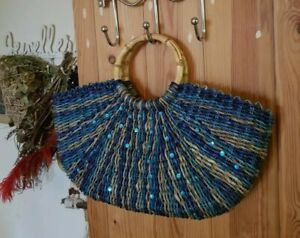 Gorgeous bright blue woven straw vintage tote bag, sparkly sequin decoration