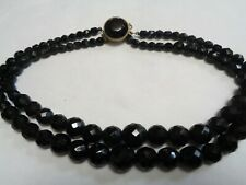 Jet Glass Beaded Necklace Slide Clasp Vintage Heavy Multi 2 Strand Faceted Black