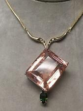 Huge Custom VS 60ct Morganite,diamond, Green Demantoid Garnet 14k gold Necklace