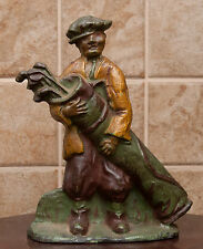 RARE AFRICAN AMERICAN  GOLF CADDY WITH BAG CAST IRON DOOR STOP CIRIA 1920'S