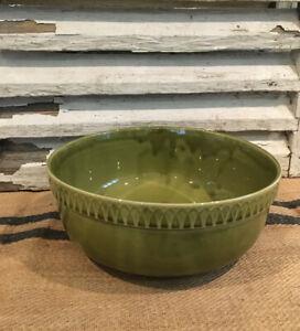 Large French Slipware China Green Fruit Bowl