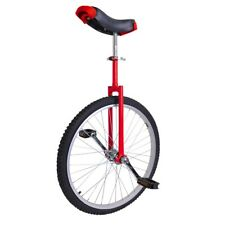 "24"" Wheel Unicycle w/ Skid Proof Moutain Tire Chrome Uni-cycle Cycling Bike Red"