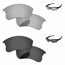 Black & Silver Chrome Polarized Replacement Lenses For-Oakley Flak jacket XLJ
