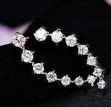 """18k White Gold..Swarovski Crystal - 1.25""""- Climber Stud Earrings - Gift Boxed"""