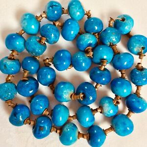 Vintage Antique African Trade Beads Turquoise Ceramic Glass Necklace Re-string