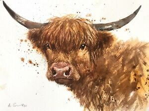 NEW ORIGINAL WATERCOLOUR PAINTING  'HIGHLAND BEAUTY' FARM COW CATTLE