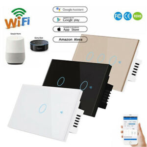 Smart WiFi Wall Touch Light Switch 1/2/3 Gang For Alexa Google Home Control