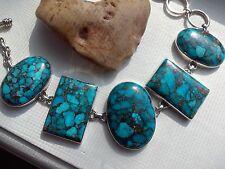 JTV.  ARYA Blue Copper Turquoise REAL 925 Sterling Silver Toggle Bracelet - 52g