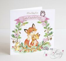 NEW BABY GIRL CARD Cute Woodland Animals - Birth Granddaughter Niece Sister