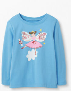 Hanna Andersson Girl's 10 140 Sugar Plum Fairy Tee Shirt Blue LS NWT $29 Art