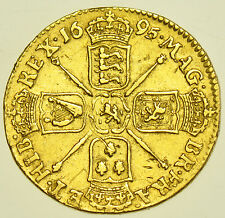 1695 GUINEA, BRITISH GOLD COIN FROM WILLIAM III aVF