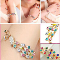 Women Colorful Rhinestone Crystal Peacock Bracelet Fashion Chain Bangle Jewelry