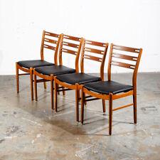 Mid Century Danish Modern Dining Chairs Set 4 Solid Teak Black Round Denmark Mcm