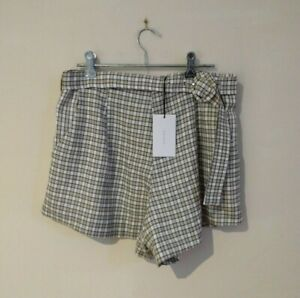 New Carver The Label Audrey Short Natural Check Womens Size Large RRP $229